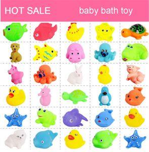 20 Unids / set Lindo Bebé Suave Juguetes de Baño de Pato de goma Animal Float Squeeze Sound Mini Wash Baño Juguetes Para Niños Juguetes Educativos
