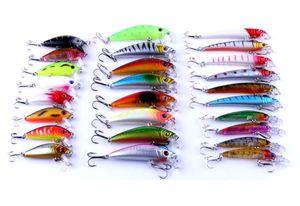 Hengjia 26pcs / lote misto Fishing Lure Bait Set Kit Mini Wobbler Crankbait Swimbait com Treble gancho Spinner