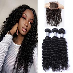 Предварительно щипковая бразильская глубокая волна ткет волос с 360 Lace диапазона фронтальными с Virgin человеческих волос Bady волосы 4шта / много