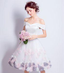 2018 결혼식을위한 새 들러리 드레스 Shoulde Cap Sleeves 새틴 핸드가 꽃을 만들 공주 공식 메이드 명예 가운
