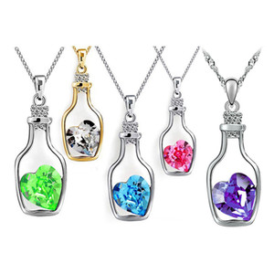 Pretty Love Drift Bottles Pendant Necklace Vintage Collares Mujer Heart Crystal Pendant Necklace
