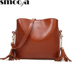SMOOZA  2018 New PU Leather Women's Bag Europe Fashion Female Shoulder Bags Ladies Small Square CrossBody Bags Tassels