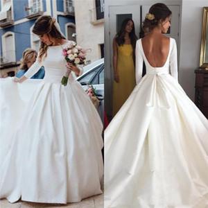 Белый атлас бальное платье Свадебные платья с длинными рукавами Бато декольте драпированные суд поезд спинки плюс размер свадебные платья на заказ