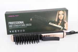 100 ٪ حقيقية lescolton مستقيم الشعر الكهربائية مستقيم الشعر مشط فرشاة الحديد الساخن السيارات سريع الشعر مدلك أداة الشعر فرد