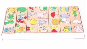 Giocattolo di domino di puzzle di blocchi di legno, 15 pezzi Animali di cartone animato corrispondenti Domino, KIDS Apprendimento ed educazione del giocattolo per bambini