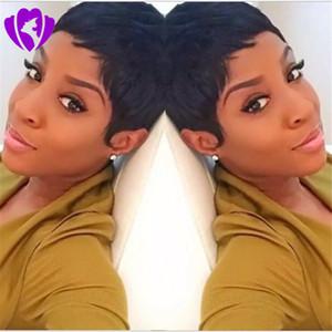 Pixie Cut Breve merletto dei capelli umani parrucche glueless anteriori umani parrucche di capelli per gli afro-americani migliori brasiliana dei capelli Parrucche