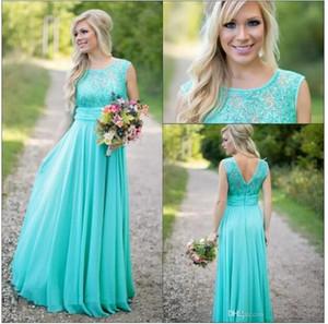 Yeni Gelenler Kat Uzunluk Courty Gelinlik Modelleri Scoop Düğün Konuk Elbise Şifon V Geri Boncuklu Dantel Uzun Nedime Elbiseler