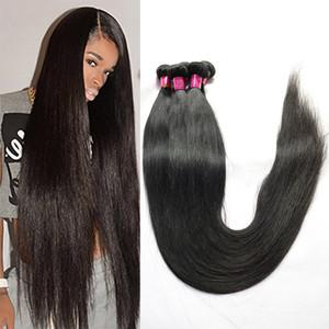 Paquetes de armadura de cabello humano recto de cabello virgen brasileño 28 30 32 34 36 38 40 pulgadas más largas Extensiones de cabello Remy peruano malasio indio