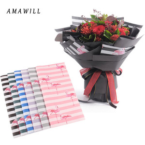 AMAWILL 10pcs/lot Indigo Paper Flamingo Wrap Flowers Packaging Materials Floral Korean Bouquets Gift Wrapping Paper 7D