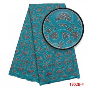 African Lace Fabric für die Hochzeit 2018 bestickt Frankreich Cotton Fabrics African Schöne Schweizer Voilespitze hinzufügen Stein AMY1902B-2