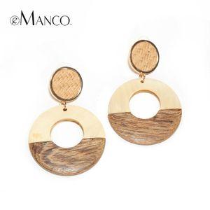 eManco Vintage Wood Dangle Earrings 골드 컬러 합금 라운드 홀 드롭 이어링 쥬얼리 boucles d' oreilles le femme 2018