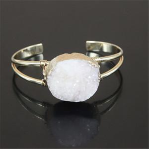 5 pcs cor de ouro Branco Druzy Geode De Cristal De Quartzo Natural Gem Stone Charme manguito pulseira aberta para mulheres fine jewelry