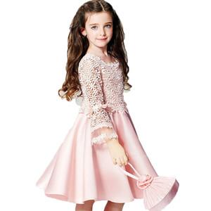 여름 새로운 고품질 패션 꽃 소녀 공주 드레스 레이스 긴 소매 둥근 목 어린이 옷
