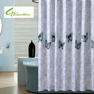 High Quality Cutrain Waterproof Shower Curtain Butterfly Printed Home Bathroom Curtains with 12 Hooks Polyester Bath Curtain