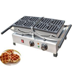Qihang_top Aço Inoxidável Comercial Industrial Belga Rotativa Waffle Maker / Waffle Rotativo Elétrico Que Faz A Máquina Para Venda
