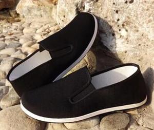 Qualidade superior Sapatos de Algodão Preto Bruce Lee Do Vintage Chinês Kung Fu sapatos Wing Chun Tai Chi Chinelo Arte Marcial Puro Algodão Sapatos