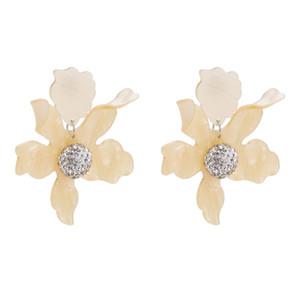 Nuevo diseño de moda bohemio grande de la flor pendientes de gota para las mujeres de la venta caliente de resina declaración encanto de la boda pendiente de la joyería