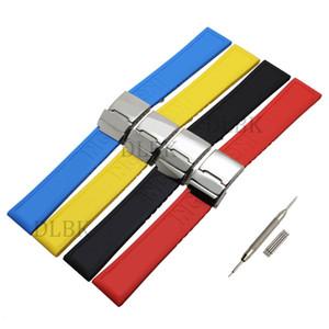 22mm preto azul vermelho amarelo buraco seção esporte pulseira de borracha de silicone pulseira de relógio pulseira de aço inoxidável fivela para breitling + ferramentas