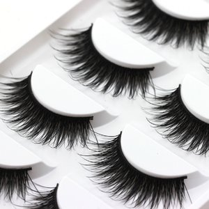 5Pairs Set Thick False Eyelashes Messy Cross Thick Natural Fake Eye Lashes Professional Bigeye Makeup Tool Long False Eyelashes