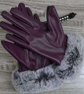 Otoño e Invierno señoras guantes de pantalla táctil a prueba de viento de cuero cálido más guantes de cuero de terciopelo de la PU Five Fingers Gloves 003