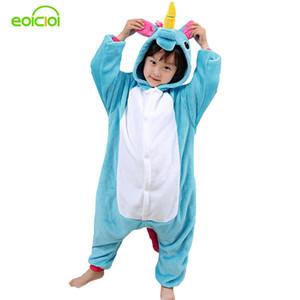 EOICIOI Pijamas para meninos crianças de natal pijama Azul Rosa Unicórnio meninas Do Bebê sleepwear pijamas quentes crianças Pegasus onesie