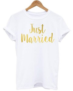 Skuggnas Just Married T-Shirts Personalisierte Hochzeit Datum Shirt Hubby Wifey Flitterwochen T-Shirt Frauen Männer Top Geschenk Hohe Qualität