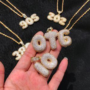 Nome personalizzato Bubble lettere Pendenti collane Zircone da uomo Gioielli Hip Hop con catena di corda in argento oro 3MM