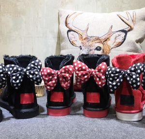 Avustralya WGG klasik Mickey uzun kış çizmeler gerçek deri Bailey Ilmek kadın bailey yay kar boot Yetişkinler Çocuk boyutu EUR22-EUR44