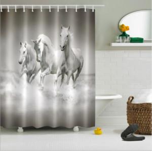 3d blanc rideaux de chevaux pour la salle de bains polyester imperméable à l'eau douche rideaux tapis de sol ensembles