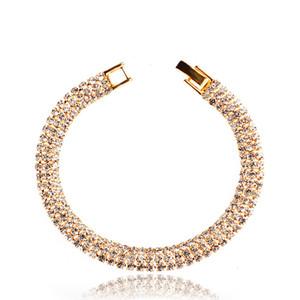 أنيق حجر الراين ساطع أساور جذابة الذهب والفضة اللون أساور كريستال للنساء بلينغ مجوهرات الزفاف