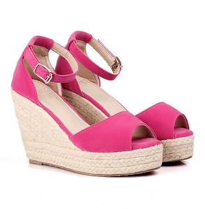 Tallas grandes Bohemia para mujer Sandalias Correa de tobillo Plataforma de paja Plataformas para zapatos femeninos Flock Tacones altos Cubierta Sandalia de tacón
