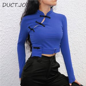 DUCTJOE новый китайский старинные Майка женщины растениеводство топ хлопок с длинным рукавом рубашка мода фитнес синий тонкий T для женщин одежда