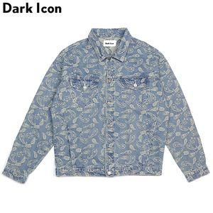 Bandana Jacquard Denim Jackets Men 2018 Autumn High Street Jeans Jacket Chaquetas casuales para hombres