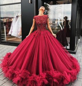 2018 Luxury Dark Red Cap Sleeves Jewel Neck vestidos de noche largos vestido de bola Tulle apliques de encaje rebordear Top Formal Prom Vestidos