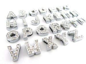 Billig 260pcs / lot DIY Slide Buchstaben mit Strass Charms für 10mm 8mm Pet Hundehalsbänder Freies Verschiffen