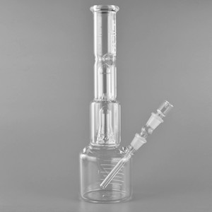 """Hi Si Bongs Glass Water Pipes 15.7"""" Double Bell Perc Jr. Beaker Base Glass Pipes with 14mm Female Joint"""