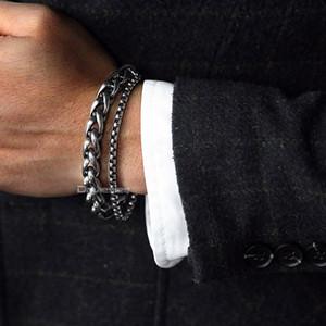 Davieslee Pulseira Masculina para Os Homens Curb Caixa Cubana Trigo Elo Da Cadeia de Dupla Camada de Aço Inoxidável Mens Pulseira de Presente Da Jóia DDBM01