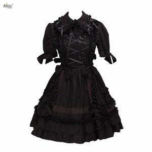 Lolita Elbise Kadınlar Gotik Koyu Siyah Lolita Kostümleri Pamuk Kısa Kollu Cosplay A-line XS-XXL Cosplay Diz Boyu Elbise