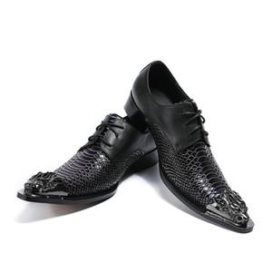 New Mens luxe crocodile veines en cuir en relief chaussures de mariage robe hommes mode métal à bout pointu lacent des chaussures de sport