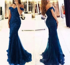 Sexy New Lace Off Shoulder Column Prom Dresses Veatidos Beaded Appliques Tulle Button Back Floor Length Mermaid Long Evening Gowns