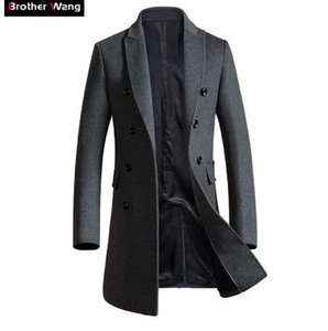 Brother Wang Marke 2018 Herbst Winter neue Männer dünne lange Wollmantel Business Casual Fashion Herren Mantel Jacke 1721