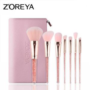 مجموعة فرش مكياج HOT 7 قطع ZOERYA Flow Sand Drill Make-up Brush مع حقيبة وردية DHL مجانية