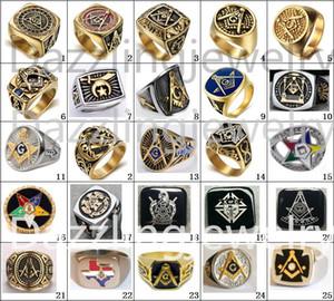 2017 Più recenti 23 Disegni Freemaoson Anelli Masonic Past Master Ring Demolay e Cavalieri di Columbus Anello Gioielli Eastern Star Anello Uomini Donne
