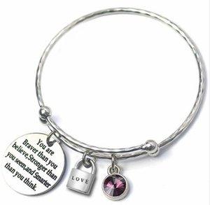 6 adet / grup Mektubu Ayarlanabilir Bilezik Bilezik 12 Birthstone CZ Aşk Charm Gümüş Renk Tel Bilezik Doğum Günü Partisi Tiffan Takı Kadın