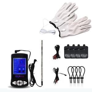 Electric Shock Kit E-Stim Cock Ring Electro Sex Penis Plug Gloves Electro Stimulation Sex Toys For Couples Erotic Toys Y18110801