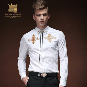 FANZHUAN 2017 New Quality Men's Casual Shirts  Wedding Dress Shirt Groom marry White Long Sleeved Shirt Men Dress