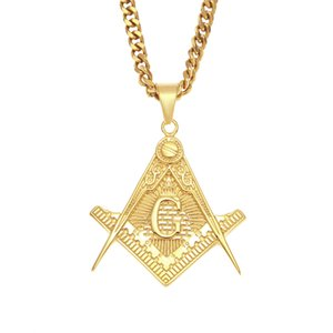 Aço inoxidável Mens Ouro Mason Pingente de Colar Com Quadrado Maçônico Freemason jóias com 5mm 70 cm Cadeia Cubana