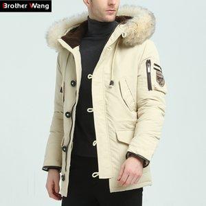 Kardeş Wang Marka 2018 Kış Yeni erkek Aşağı Ceket Moda Rahat Kapüşonlu Kalın Sıcak Uzun Coat Kürk Yaka Ceket Y181101