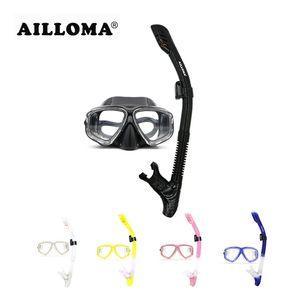 AILLOMA Professional Scuba Diving Mask Tube Silicone impermeabile Anti Nebbia subacquea Snorkeling Diving Maschere e boccagli Set