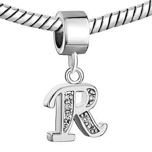 Ródio chapeamento branco de cristal strass letra inicial do alfabeto R-Z Dangle charme Beads serve para pulseira Pandora